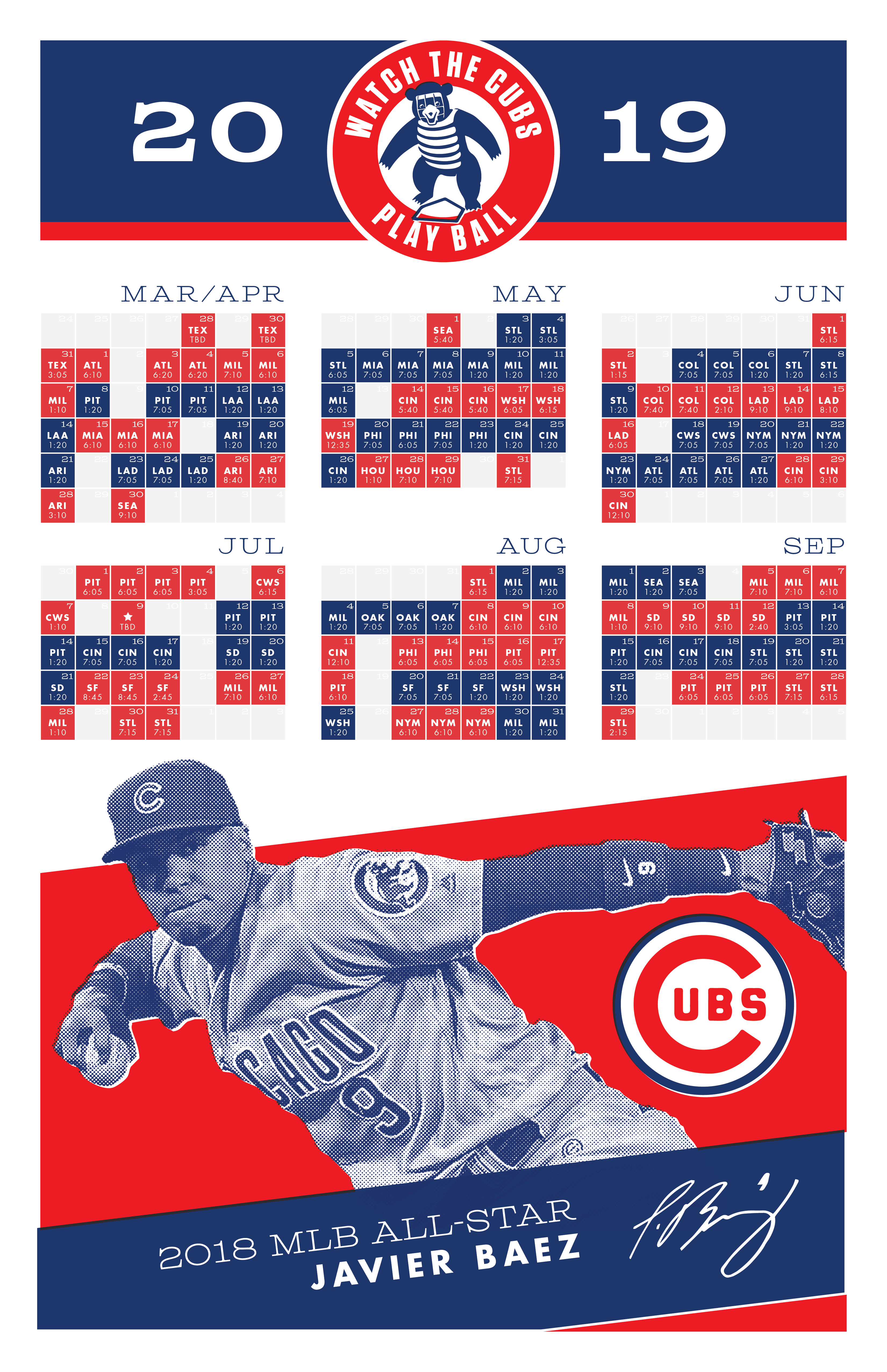 Dramatic image within cubs printable schedule
